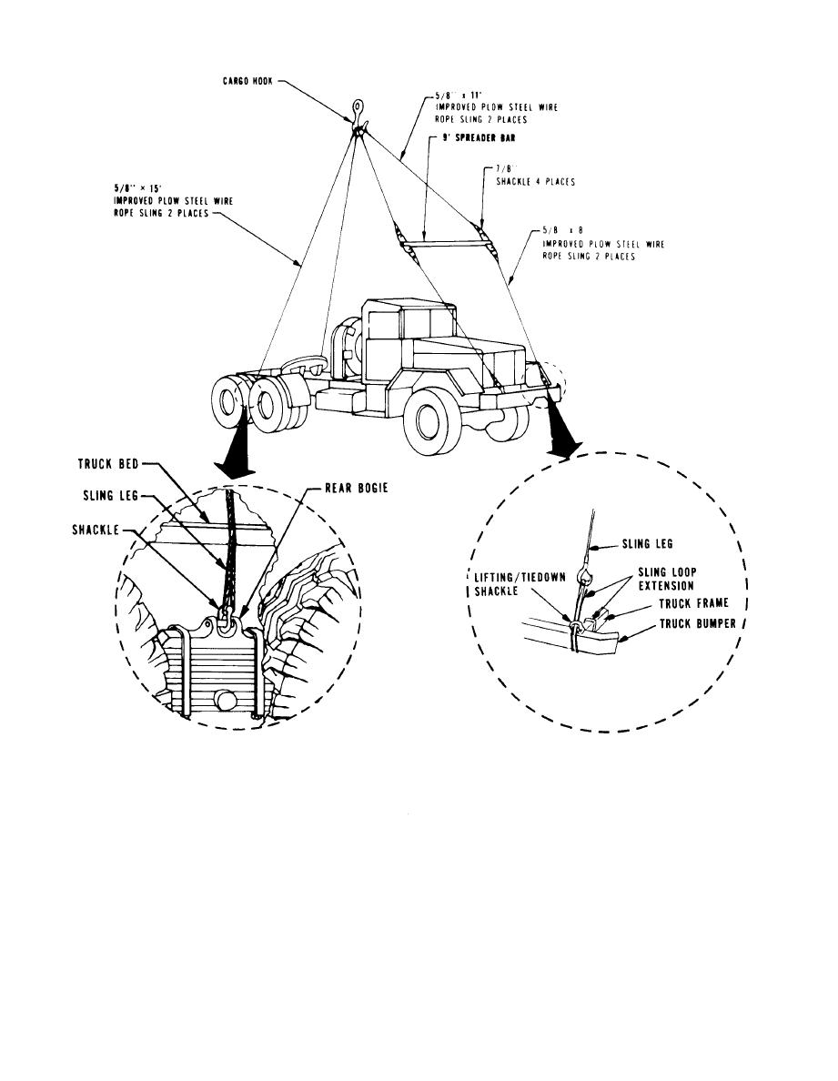 Figure 6-3. Lifting diagram for M48 using six-wire sling and one ...